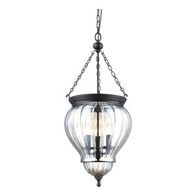 Rustic Bell Lantern Pendant Light - Black with Clear Glass