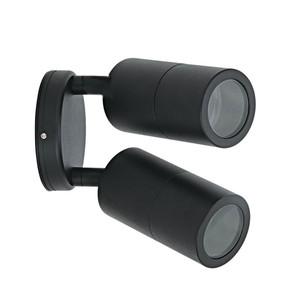 Outdoor Contemporary 2 Light Adjustable LED GU10 Spotlight - Black