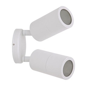 Outdoor Contemporary 2 Light Adjustable LED GU10 Spotlight - White