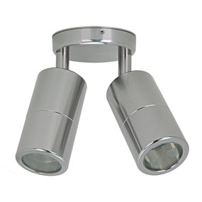 Outdoor Contemporary 2 Light Adjustable LED GU10 Spotlight - Titanium Silver