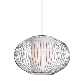 40W Chrome Small Rustic Metal And Textile Pendant