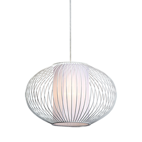 40W White Small Rustic Metal And Textile Pendant