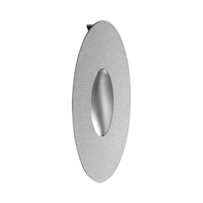 1.2W Cool White LED Recessed Oval Wall Light In Silver