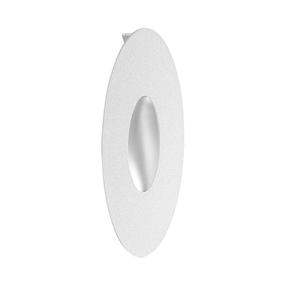 1.2W Cool White LED Recessed Oval Wall Light In White