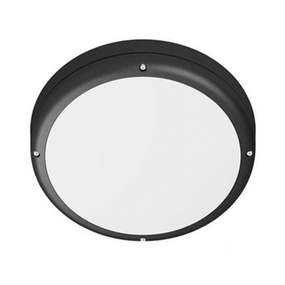Vandal Resistant Wall or Ceiling Light - 240V 19W 1600lm 3000K IP65 IK10 Round Black