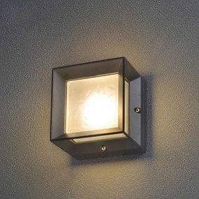6W LED Stunning Warm White Box Glass Black Wall Light