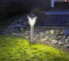 Solar Bollard Light - Motion Sensor Super Bright 4.5Ah Battery Stainless Steel