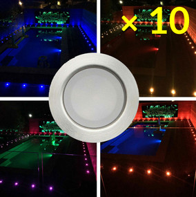 Solar Deck Lights or Step Lights With Remote - RGB Kit of 10 Stainless Steel IP67