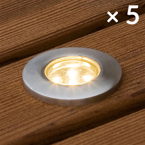 Solar Deck Lights or Step Lights - Kit of 5 Stainless Steel IP67 Warm White