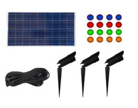 Three Solar Lights on Spikes - Kit Includes Solar Panel, Very Bright