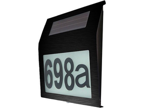 Illuminated House Numbers Light With Built In Solar Panel In Black