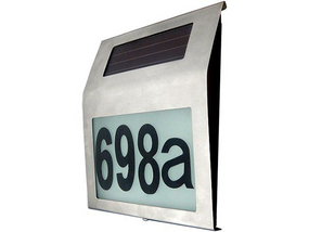 Illuminated House Numbers Light With Built In Solar Panel Warm White LED's Stainless Steel