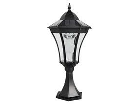 3.8W Bright White Solar Pillar Light In Black With Motion Sensor - Lantern