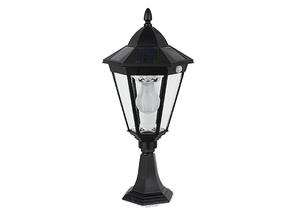 3.8W Bright White Solar Pillar Light In Black With Motion Sensor
