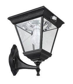 6.2W Warm White Solar Pillar Wall Light In Black With Infrared Sensor