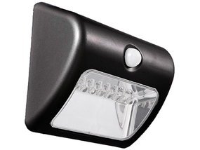 Warm White Solar Wall Light In Black With Infrared Sensor