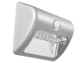 Warm White Solar Wall Light In Silver With Infrared Sensor