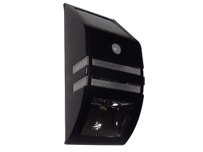 Warm White Stainless Steel Solar Wall Light In Black With Infrared Sensor