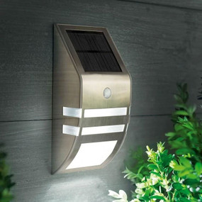Warm White Stainless Steel Solar Wall Light In Silver With Infrared Sensor