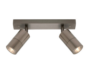 Ceiling Lights - Marine Grade IP44 2 Adjustable GU10 Spotlights Titanium C200