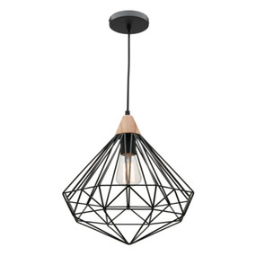 Industrial Timber Pendant Light - 60W Black
