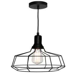 Pendant Light - Contemporary Industrial Cage 60W Black