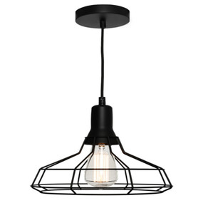 Pendant Light - Contemporary Industrial Cage Medium 60W Black