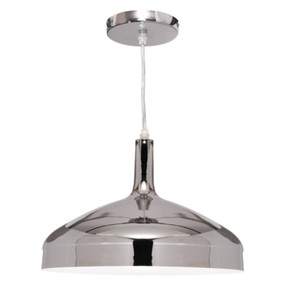 Pendant Light - Modern Sleek Dome 60W Chrome