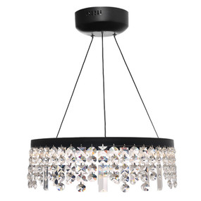 Pendant Light - Contemporary Circular Crystal 3000K 2805lm Black