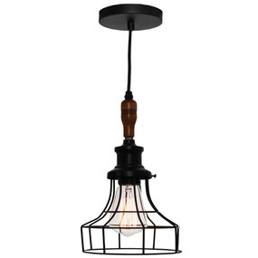 Pendant Light - Industrial Cage Wired 360mm 60W Black