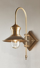 Wall Light - Sleek Lantern 600mm 40W Antique Brass