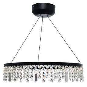 Pendant Light - Contemporary Circular Crystal 3000K 3354lm Black