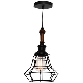 Pendant Light - Sleek Industrial Timber With Cage 60W Black