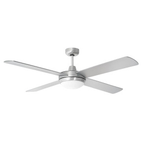 Ceiling Fan With Light - Multi Colour Temp 132cm Brushed Alum 3 speed