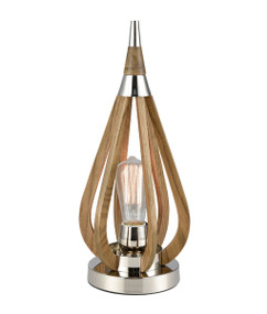 Table Lamp - Sleek Taupe Finished Wood 419mm 60W Wood and Nickel