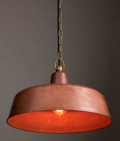 Pendant Light - Rustic Dome 250mm 60W Aged Copper and Aged Brass