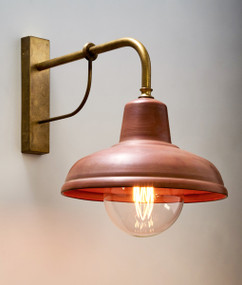 Indoor Wall Light - Rustic Lantern 295mm 60W Aged Copper and Aged Brass