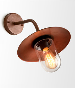 Outdoor Wall Light - Classic Rustic 320mm 60W Matt Aged Copper