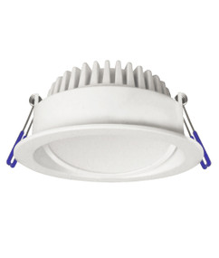 Gimble Downlight - Dimmable 10W 900lm IP44 Tri Colour 110mm White Commercial Grade