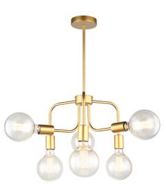 Pendant Light - Modern Hanging 6 Lights 250mm 72W Matt Gold