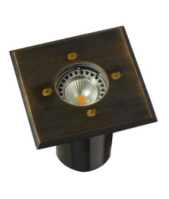 Ground Light - Square 12V 114mm 20W Aged Brass