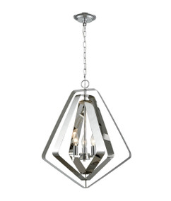 Pendant Light - Chic Pentagon 3 Lights 565mm 60W Polished Nickel