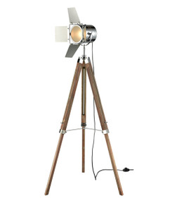 Tripod Floor Lamp - Classic 1200mm 25W Washed Grey and Chrome