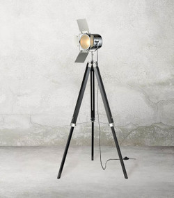 Tripod Floor Lamp - Classic 1200mm 25W Black and Chrome