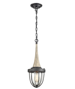 Pendant Light - Hanging Wood Accent 517mm 60W Weathered Charcoal