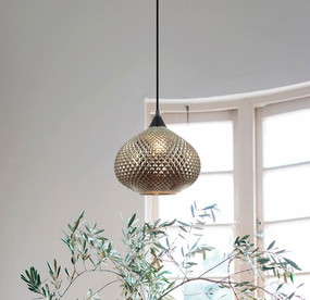 Pendant Light - Contemporary Hanging Silvery Glass 250mm 72W