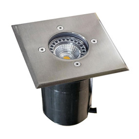 Ground Light - 12V Marine Grade 316 Stainless Steel 20W MR16 IP67 120mm Square