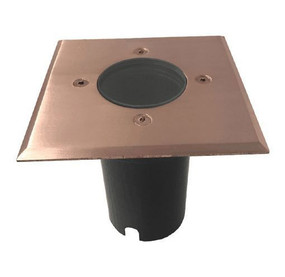 Ground Light - Square 12V 114mm 20W Polished Copper