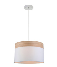 Pendant Light - Sleek Drum Shaped E27 250mm 72W White and Timber