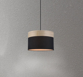 Pendant Light - Sleek Drum Shaped E27 200mm 72W Black and Timber